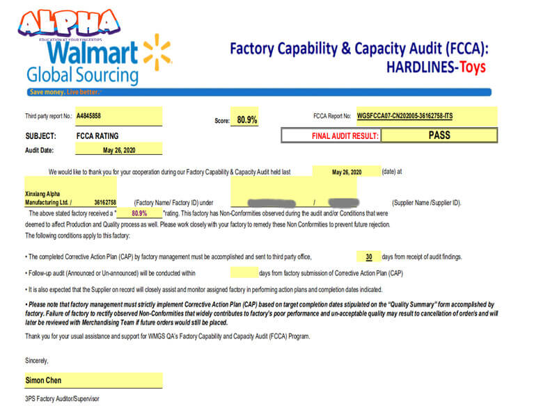 Alpha science toys:Wal-mart FCCA factory inspection Report-Wal-Mart FCCA